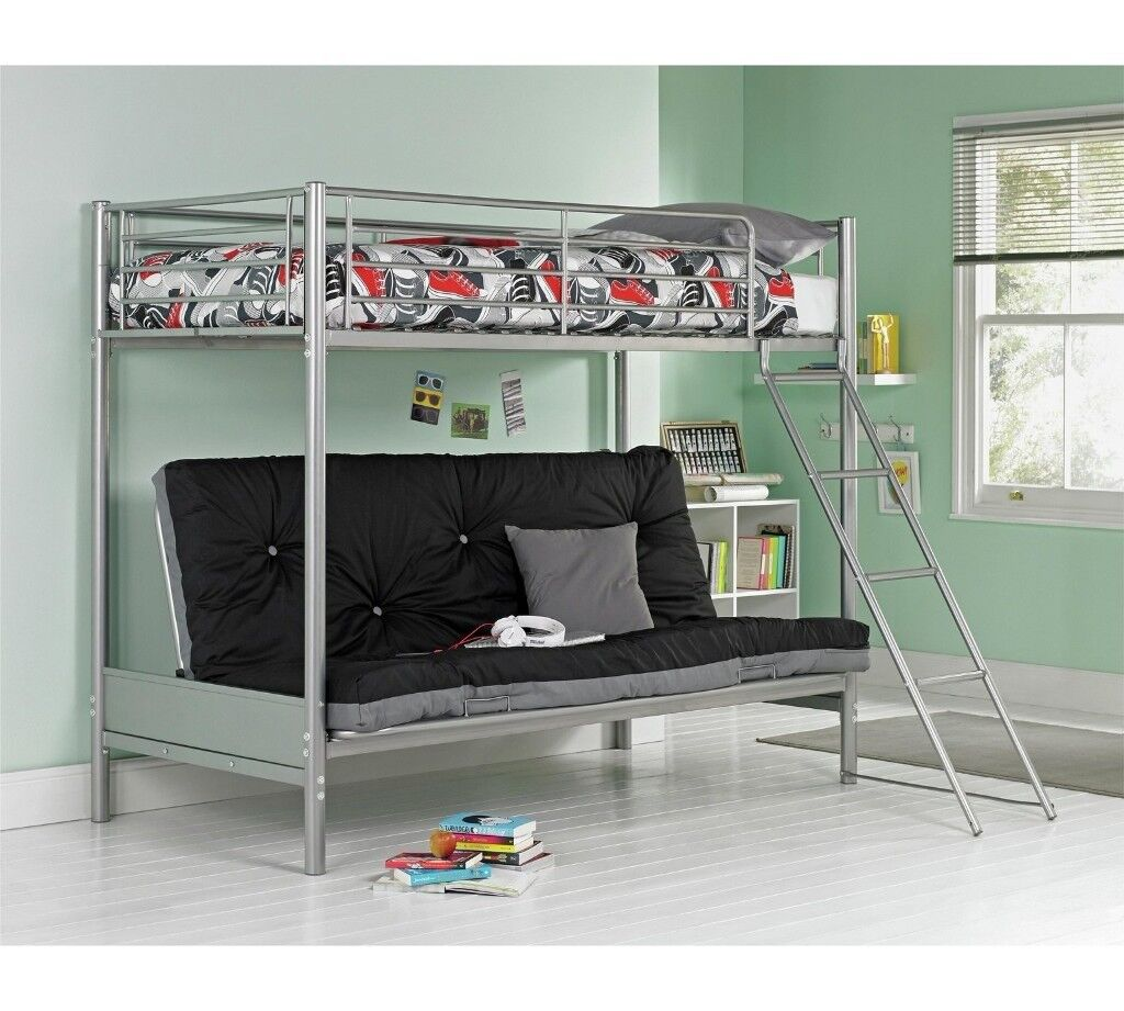 Argos Metal Bunk Bedframe With Double Fold Down Futon In