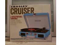 Crosley Cruiser CR8005A Turntable/Record Player in Turquoise/Light Blue