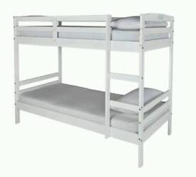 White wooden kids bunk bed - less than a year old
