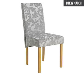 Collection Pair of Fabric Skirted Chairs - Grey Damask