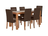 HOME Newton Dining Table & 6 Chairs -Walnut Stain Chocolate