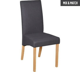 Collection Pair of Charcoal Fabric Skirted Dining Chairs