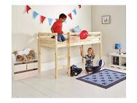 Mid-sleeper single bed: Mid height high sleeper; Can put 2nd mattress on floor beneath for bunk bed