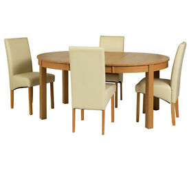 Collection Massey Dining Table & 4 Chairs-Wood Effect Cream