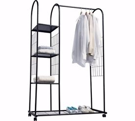 Clothes Rail with Shelves - Silver