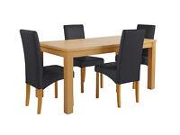 HOME Linwood Ext Table & 4 Skirted Chairs -Oak Veneer Black
