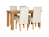 HOME Stonebury Table and 4 Skirted Chairs - Oak Stain Cream