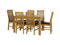 HOME Penley Ext Dining Table and 6 Paris Chairs - Oak Stain