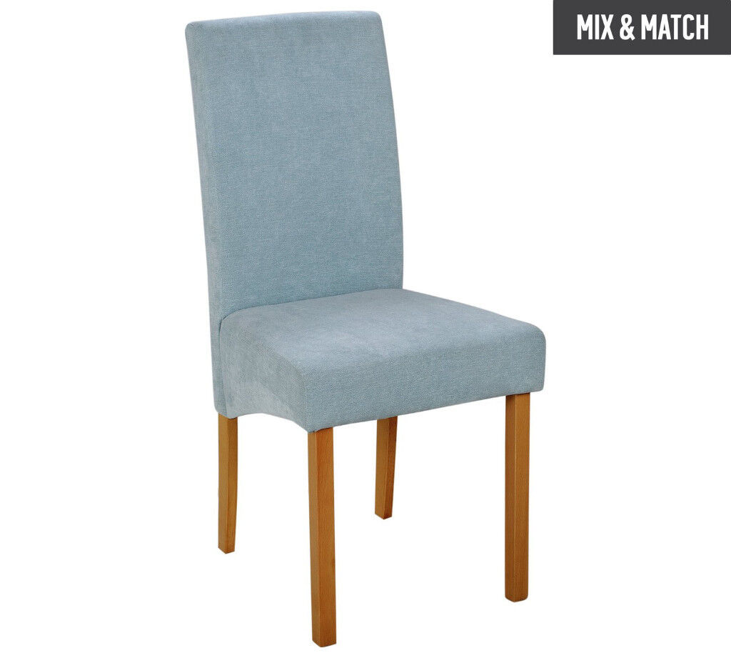 Collection Pair of Fabric Skirted Dining Chairs - Duck Egg