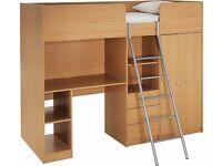 Ohio Beech High Sleeper Bed - office desk, cupboards, drawers