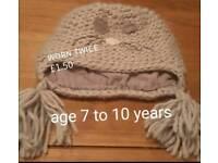Girls Cat Wool Hat 7-10 Years