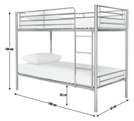 Used Double metal Bunk Bed frame with ladder for £70 in good condition