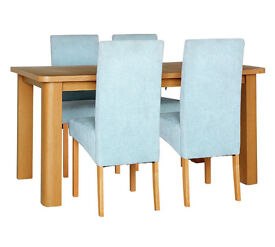 HOME Stonebury Table & 4 Skirted Chairs -Oak Stain Duck Egg