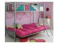 Double futon bunk bed (pink with silver metal frame,as shown)