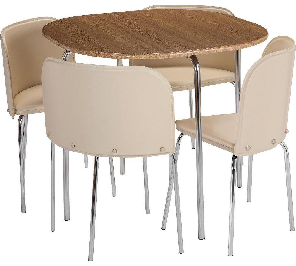 Dining table and 4 chairs Oak/Cream BRAND NEW