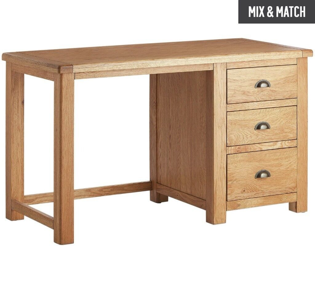 heart of house kent 3 drawer office desk oak oak. Black Bedroom Furniture Sets. Home Design Ideas
