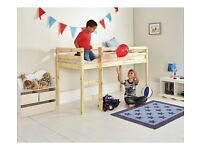 Mid-Sleeper. Standard single bed size. Mid height. Can be used as bunk bed with mattress on floor