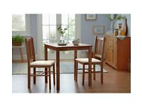 Solid Walnut Dining Table & 2 Chairs