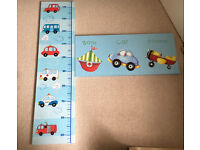 TWO CANVAS PICTURES GROWTH CHART AND TRANSPORT FOR BEDROOM NURSERY