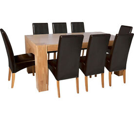 Heart of House Alston Dining Table & 8 Chairs-Oak Chocolate
