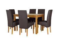 HOME Lincoln Dining Table and 6 Chairs-Oak Effect Chocolate