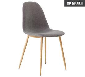 Hygena Beni Pair of Dining Chairs - Grey
