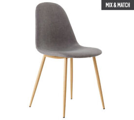 Hygena Beni Pair of Dining Chairs - Grey