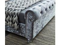 Plush velvet Crush Velvet Sleigh beds on Clearance 4