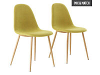 Hygena Beni Pair of Dining Chairs - Green