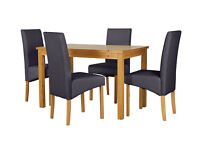 HOME Lincoln Dining Table and 4 Chairs -Oak Effect Charcoal