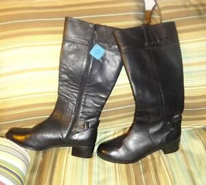 13M Womens BRAND NEW FITZWELL Leather High Boots Black WIDE LEG