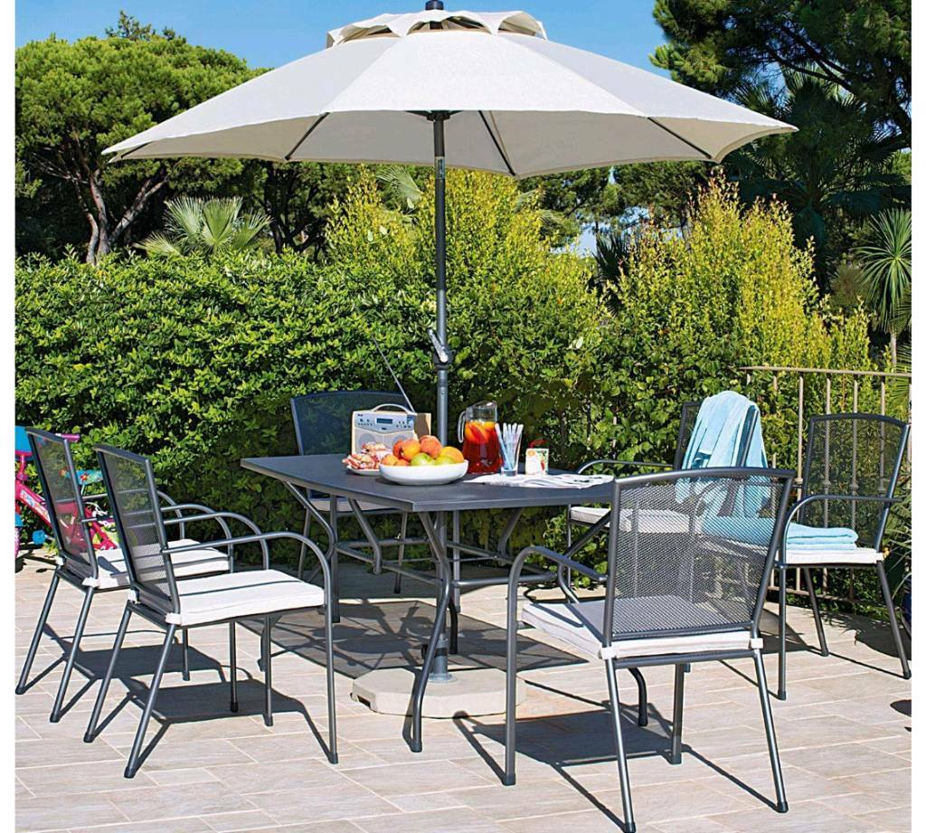 Miami 6 Seater Mesh Patio Furniture Set Table Chairs And Parasol