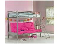 High bed frame with built in futon/sofa