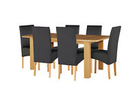 HOME Stonebury Table and 6 Skirted Chairs -Oak Stain Black