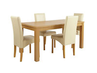 HOME Linwood Ext Table & 4 Skirted Chairs -Oak Veneer Cream