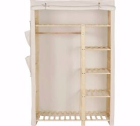 ARGOS HOME POLYCOTTON AND PINE DOUBLE WARDROBE - CREAM COVER