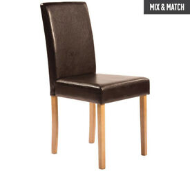 HOME Pair of Leather Effect Mid Back Chairs - Chocolate - Oak