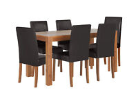 HOME Newton Dining Table and 6 Chairs - Walnut Stain Black