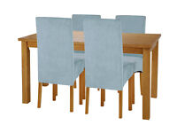 HOME Lincoln Dining Table and 4 Chairs -Oak Effect Duck Egg