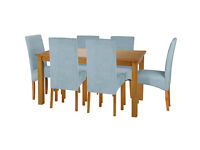HOME Lincoln Dining Table and 6 Chairs -Oak Effect Duck Egg
