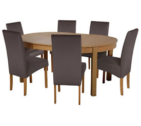 Collection Massey Dining Table & 6 Chairs -Wood Effect Choc
