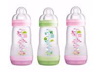 MAM 260ml Anti Colic Bottle 3 Pack - Girl (NEW)