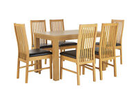 HOME Pemberton Dining Table and 6 Paris Chairs - Oak Effect