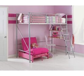 HIGH SLEEPER SINGLE BED WITH MATTRESS AND ATTACHED DESK