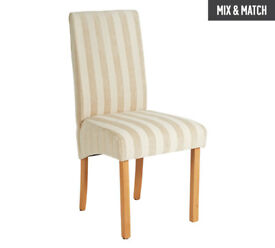 Collection Pair of Fabric Skirted Chairs - Cream Stripe