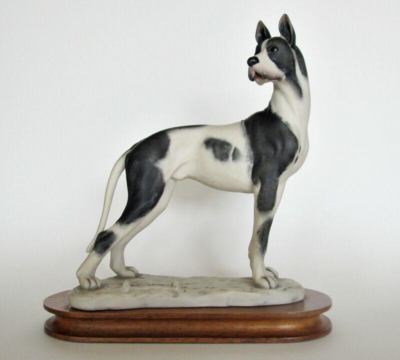 Vintage CACCIAPUOTI Harlequin Great Dane Dog Statue 1982 Florence Italy