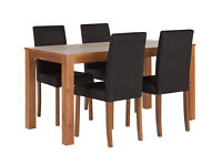 HOME Newton Dining Table and 4 Chairs - Walnut Stain Black