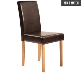 HOME Pair of Leather Effect Mid Back Chairs - Chocolate Oak