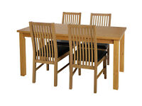 HOME Ashdon 120cm Table and 4 Paris Chairs -Oak Stain Black