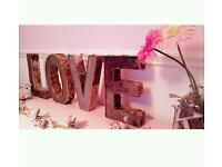 *Hire Only* Birch & Iron Love Letters 30cm Tall
